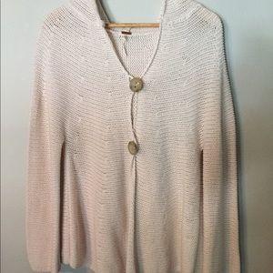 Free People Cream Crochet Knit Hooded Cardigan Lg